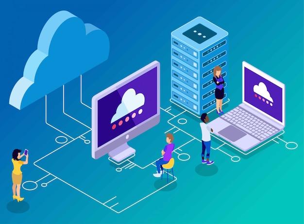 Tecnologia di backup e archiviazione del computer, nuvole, server, laptop e connettività, illustrazione isometrica