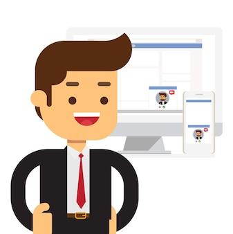 Tecnologia di chat online, uomo d'affari