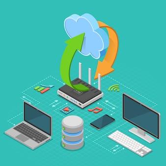 Tecnologia di cloud computing isometrica