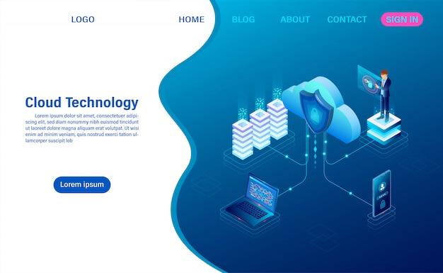 Tecnologia di cloud computing. servizio o app digitale con trasferimento dati. elaborazione dei dati protezione del concetto di sicurezza dei dati. piatto isometrico