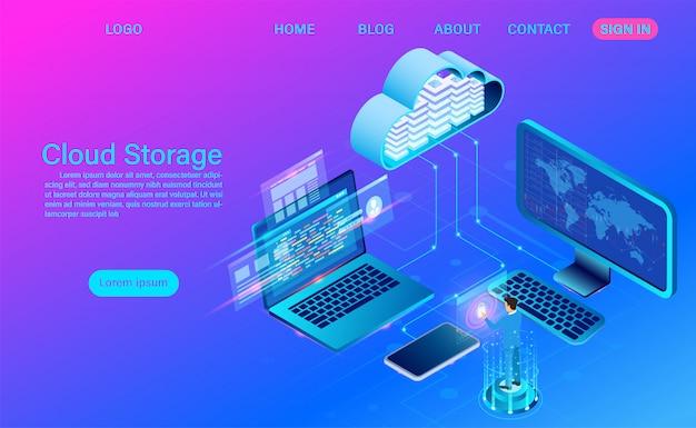 Tecnologia di cloud storage e networking. tecnologia informatica online. grande concetto di elaborazione del flusso di dati, illustrazione