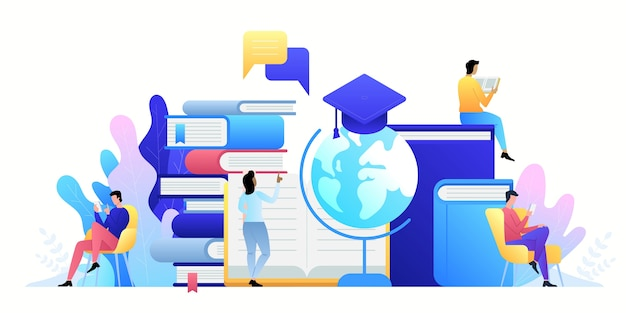 Tecnologia di concetto online di formazione. e-book, corsi su internet a