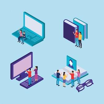 Tecnologia di formazione on line con laptop e desktop