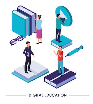 Tecnologia di formazione on line con libri e persone