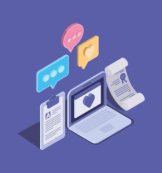 Tecnologia di formazione online con laptop