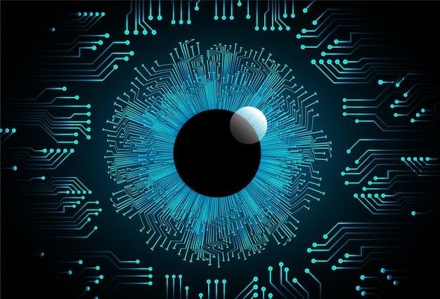 Tecnologia di futuro cyber dell'estratto della sfera dell'occhio azzurro