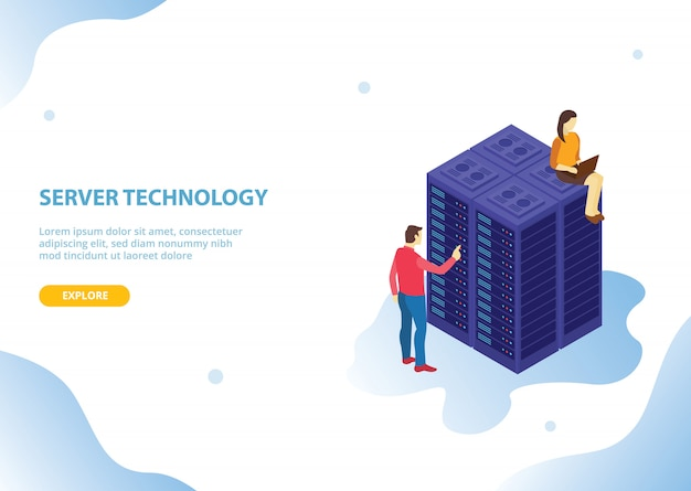 Tecnologia di hosting del server cloud con stile isometrico