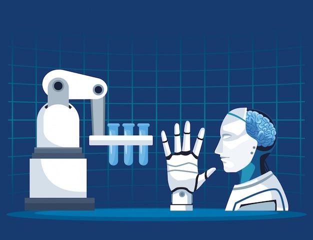 Tecnologia di intelligenza artificiale con braccio robotico cyborg con cervello e mano meccanici