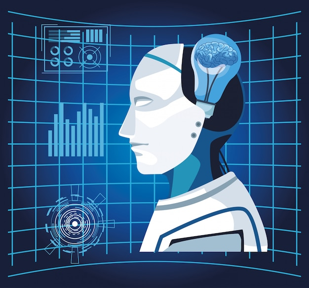 Tecnologia di intelligenza artificiale cyborg bulbo umano bulbo realtà virtuale