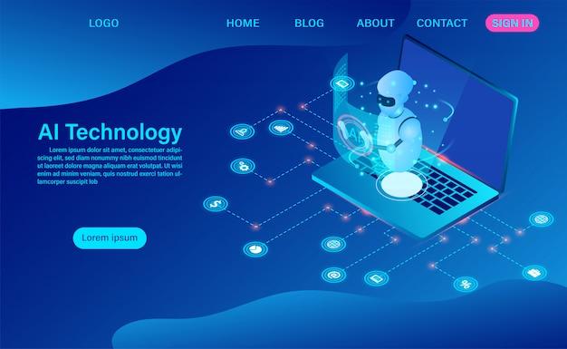 Tecnologia di intelligenza artificiale del robot nella pagina di destinazione del computer software