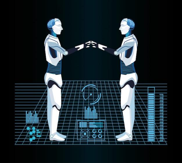 Tecnologia di intelligenza artificiale macchine cyborg realtà virtuale
