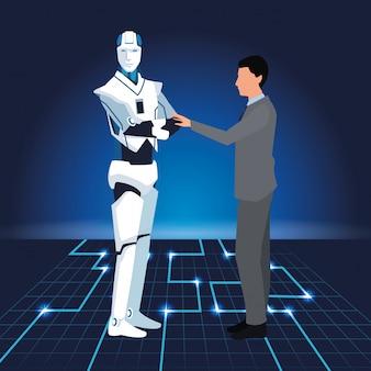 Tecnologia di intelligenza artificiale uomo e cyborg