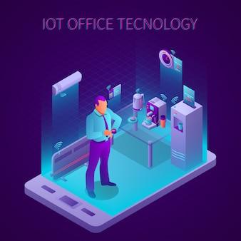 Tecnologia di iot nella stanza della rottura dell'illustrazione isometrica di vettore della composizione nell'ufficio di affari