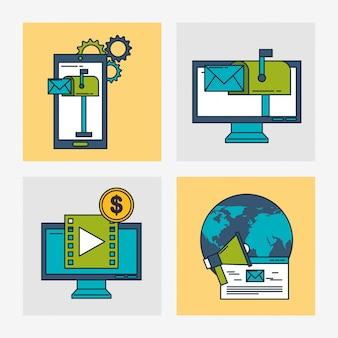 Tecnologia di marketing digitale con il pianeta mondo