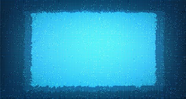 Tecnologia di microchip a circuito leggero su future, hi-tech digital e network concept design
