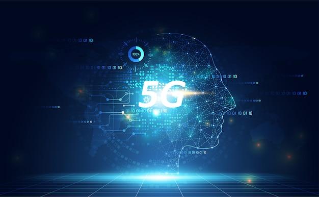 Tecnologia di rete astratta 5g ai digitale