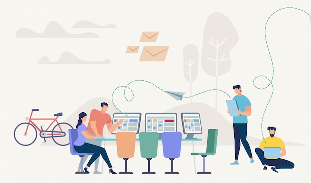 Tecnologia di rete aziendale. design di coworking.