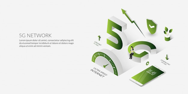 Tecnologia di rete isometrica 5g internet ad altissima velocità