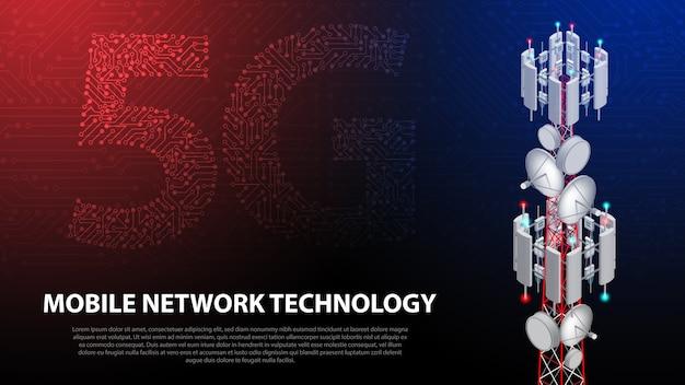 Tecnologia di rete mobile 5g torre di comunicazione sullo sfondo