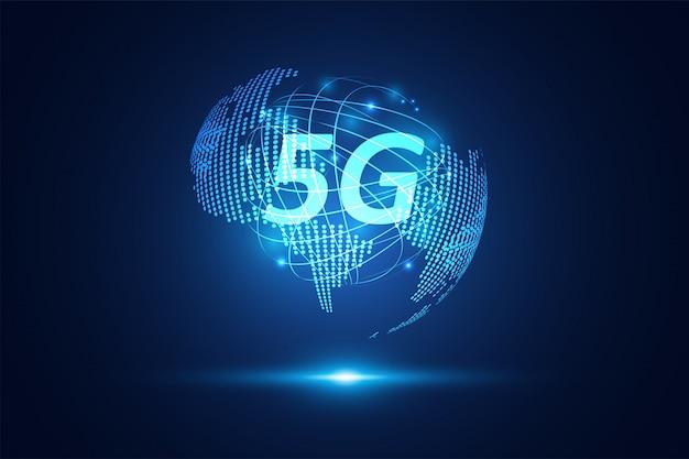 Tecnologia di rete wifi senza fili astratta di internet 5g