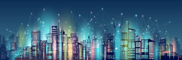 Tecnologia di rete wireless comunicazione smart city.