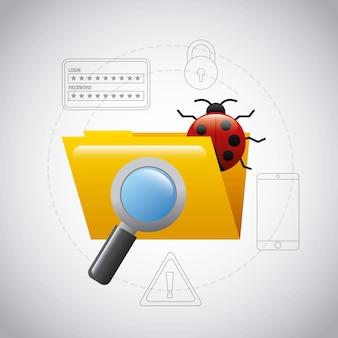 Tecnologia di ricerca del virus della lente d'ingrandimento del bug della cartella