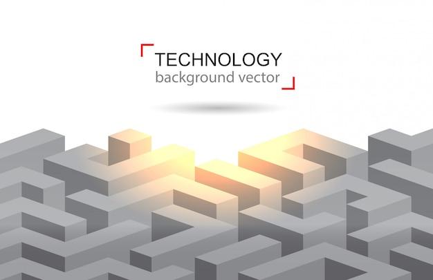 Tecnologia di sfondo del labirinto. vettore