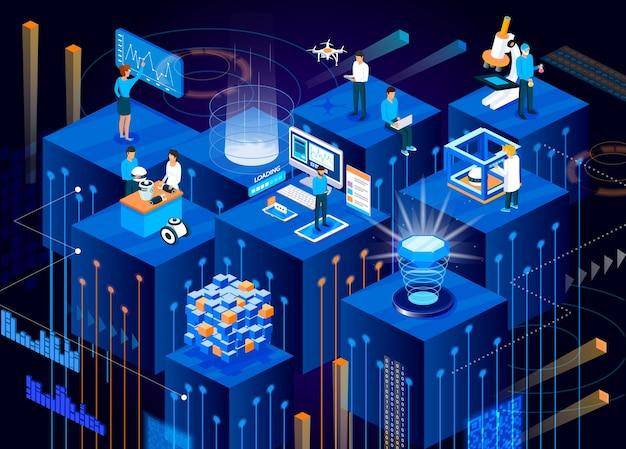 Tecnologia digitale del futuro isometrico.