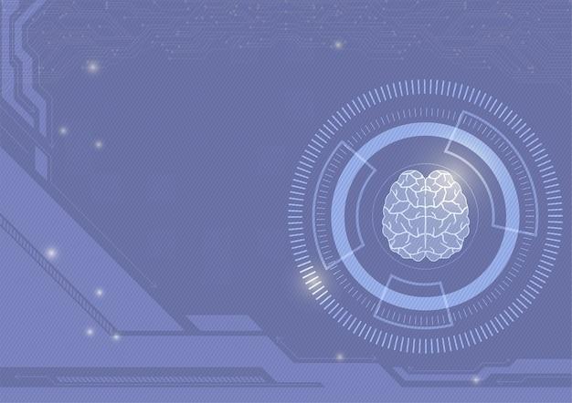 Tecnologia digitale di colore viola e priorità bassa astratta di vettore del cervello