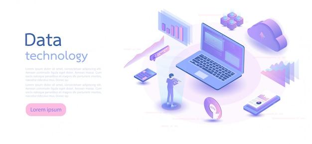 Tecnologia digitale isometrica. illustrazione vettoriale isometrica.