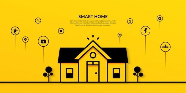 Tecnologia domestica intelligente con banner a più contorni
