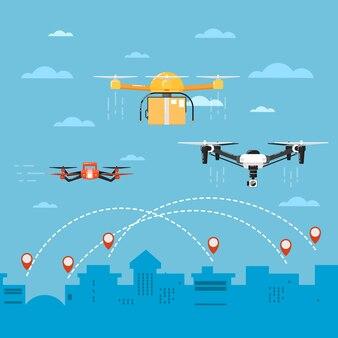 Tecnologia drone con robot volanti
