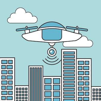 Tecnologia drone volante futuristico in città
