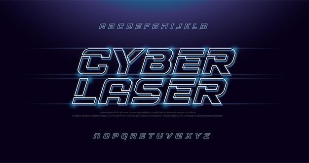 Tecnologia effetto astratto neon font e alfabeto