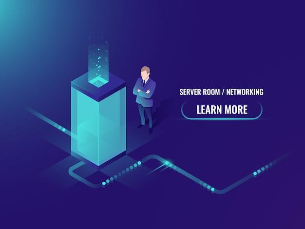 Tecnologia energetica al neon, rack per sala server, concetto di data center, elaborazione di grandi quantità di dati