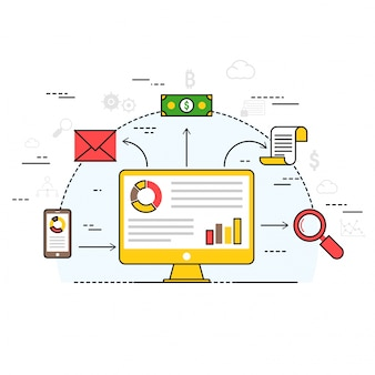 Tecnologia fin-tech (tecnologia finanziaria). illustrazione di stile piatto variopinto.