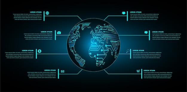 Tecnologia futura del circuito binario, fondo blu di concetto di sicurezza informatica di hud del mondo,