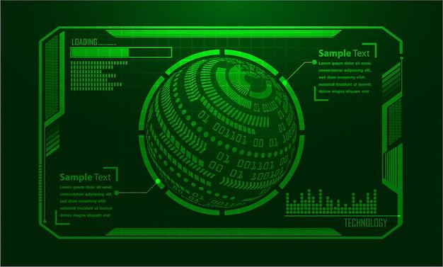 Tecnologia futura del circuito binario, fondo verde di concetto di sicurezza cyber del mondo hud,