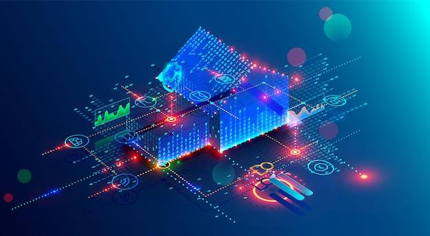 Tecnologia futuristica casa intelligente di interfaccia con 3d piano di costruzione e internet delle cose