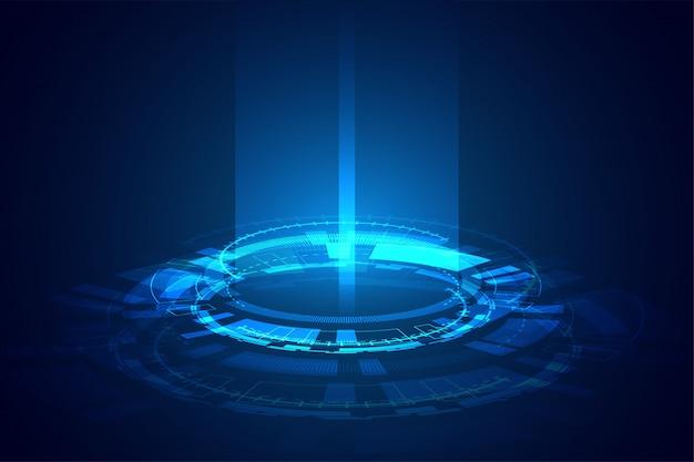 Tecnologia futuristica incandescente banner design fascio di luce
