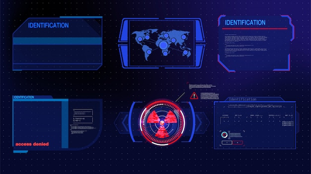 Tecnologia futuristica schermo hud. visualizzazione tattica dislpay di fantascienza vr. interfaccia utente hud. display head-up vr futuristico. schermata della tecnologia della realtà vitale.