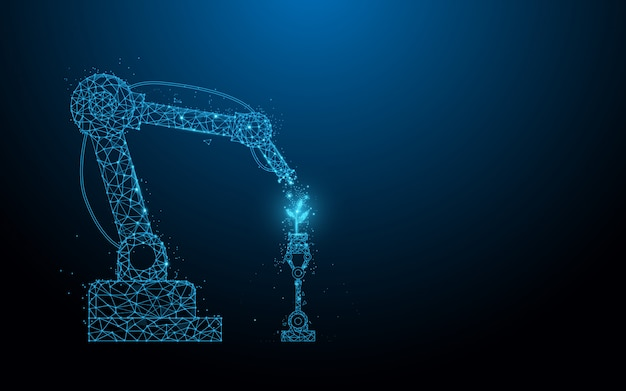 Tecnologia intelligente degli agricoltori robotici. chimico spray per robot. linee, triangoli e design in stile particellare.