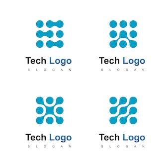 Tecnologia logo design vettoriale