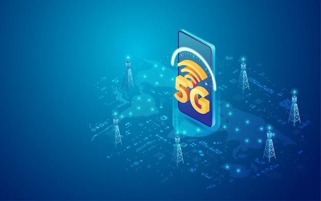 Tecnologia mobile 5g in isometrica