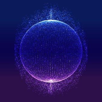 Tecnologia moderna astratta con sfera di particelle luminose