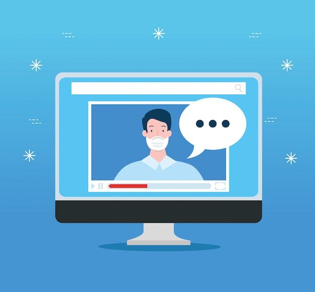 Tecnologia online di istruzione nella progettazione dell'illustrazione del computer