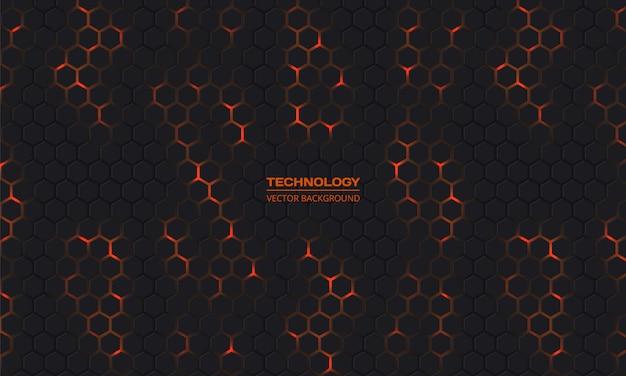 Tecnologia scuro sfondo esagonale.