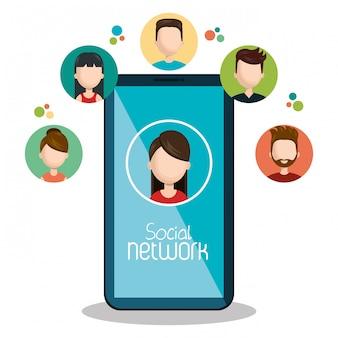 Tecnologia smartphone collegato virtuale isolato