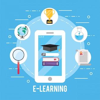 Tecnologia smartphone con libri di educazione e certificato
