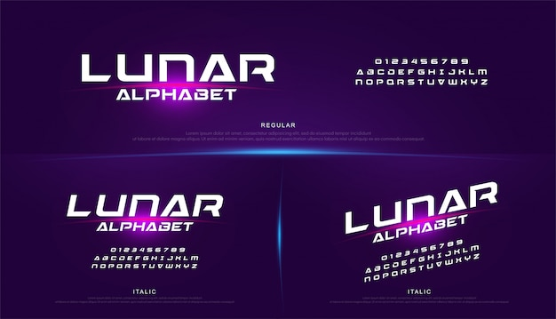 Tecnologia spazio font e alfabeto